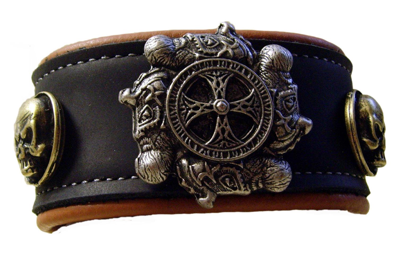 armband 2 farbig wikinger kreuz in vielen leder farben odin thor. Black Bedroom Furniture Sets. Home Design Ideas