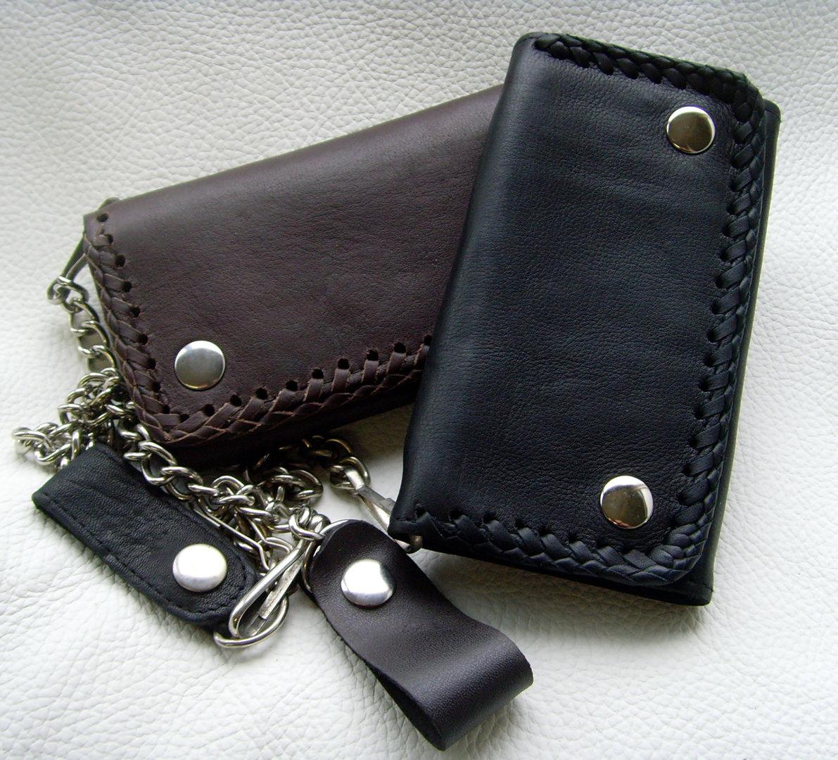 biker b rse rindsleder geflochten schwarz oder braun wallet. Black Bedroom Furniture Sets. Home Design Ideas