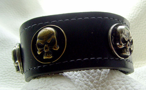 Armband Skull Flams Bi-Color Dickleder