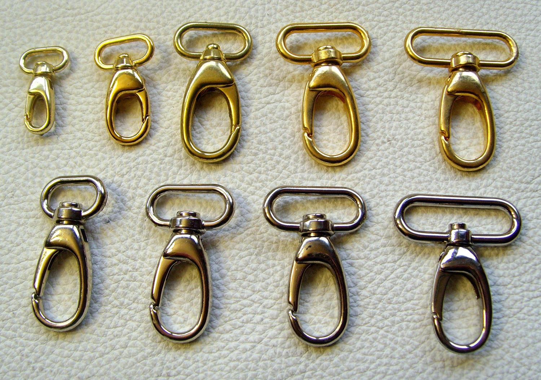 2,5cm Schlaufendurchlass Tasche Karabinerhaken Gold glänzend 25mm Karabiner